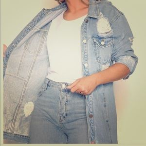 Missguided long distressed denim jacket